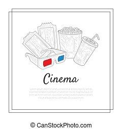 La plantilla de la pancarta del cine, entradas, gases tridimensionales, refrescos, símbolos de palomitas de maíz ilustración vectorial
