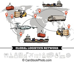 La plantilla de la red logística mundial