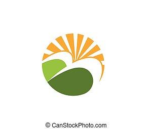 La plantilla de logo de paisajes de agricultura