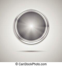 La plantilla del botón del círculo con textura de metal