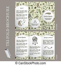La plantilla del folleto de Boho con elementos dibujados a mano