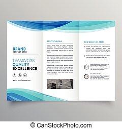 La plantilla del folleto de la onda azul para tu negocio