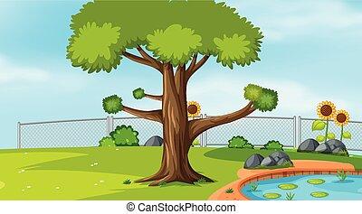 La plantilla del paisaje natural