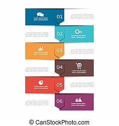La plantilla infoográfica. Se puede usar para diseño de flujo de trabajo, diagrama, opciones de paso de negocios, pancarta, diseño web.