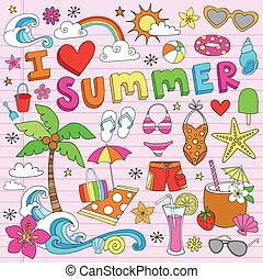 La playa de verano dibuja un vector