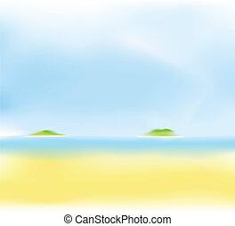La playa de verano tiene un fondo borroso
