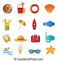 La playa y los iconos de verano en blanco