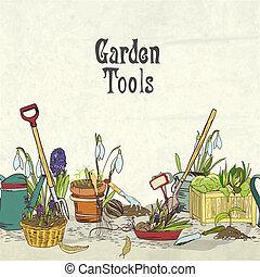 La portada del álbum de herramientas de jardinería a mano