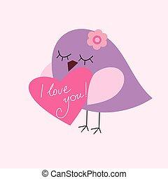 La postal de San Valentín con un pájaro