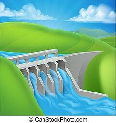 La presa de energía hidroeléctrica genera electricidad