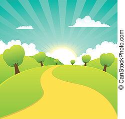 La primavera o las estaciones de verano son paisajes rurales