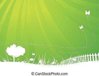 La primavera y las mariposas del jardín