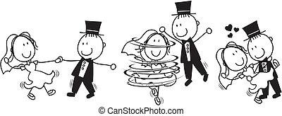 La primera caricatura de la boda