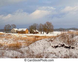 La primera nieve en la granja