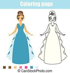 La princesa de color. Juego educativo. Actividad imprescindible para niños pequeños