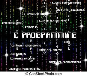 La programación C muestra diseño de software y aplicación