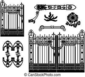 La puerta de hierro y las decoraciones