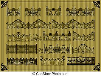 La puerta de vinagre y la valla de la calle ilustran la colección de vectores de fondo