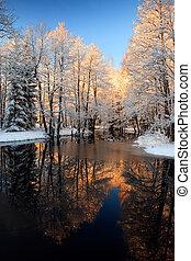 La puesta de sol dorada del río de invierno