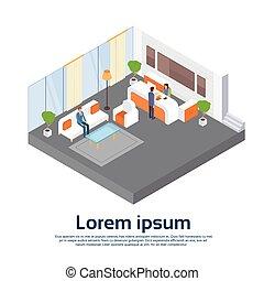 La recepción de la oficina de negocios espera de la sala de trabajo de la gente de negocios en un lugar de trabajo 3D isometrico