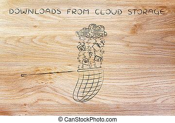La red de coger datos cayendo de una nube electrónica, descarga almacenamiento