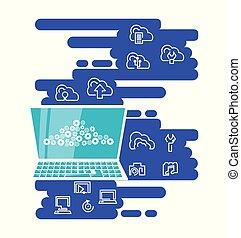 La red de computación de nubes con portátil