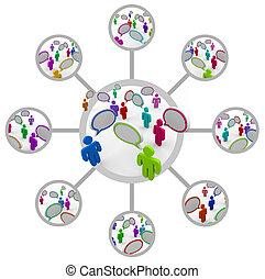 La red de gente que se comunica en red de conexiones