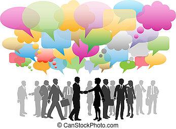 La red social de medios de comunicación de negocios habla de la compañía