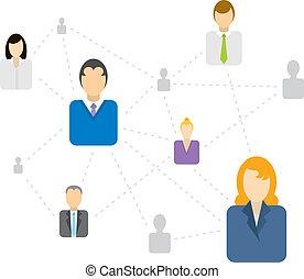 La red social/ de negocios se conecta