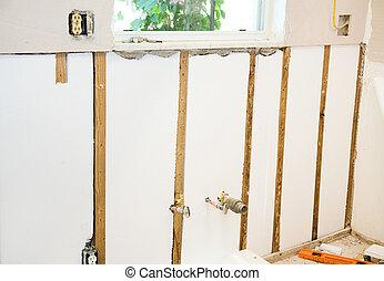 La remodelación de casa, paredes aisladas