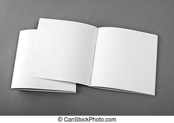La revista Blank abrió aislada en el fondo gris con sombras suaves.