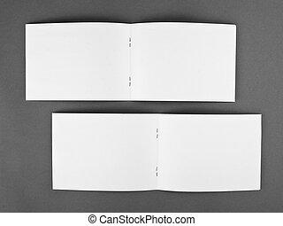 La revista Blank abrió aislada en el fondo gris