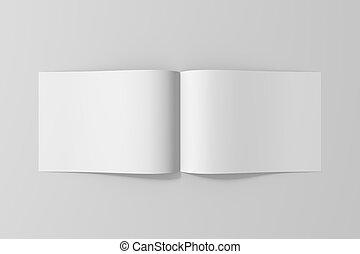 La revista de folletos en blanco se aísla en el fondo gris blando. 3D ilustrado