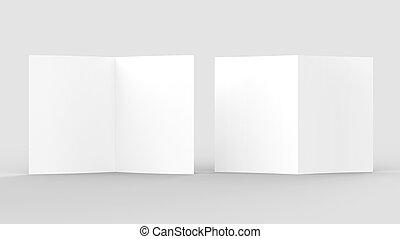La revista de folletos en blanco se aísla en un fondo gris suave. 3D ilustrado.