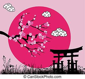 La sakura japonesa florece y la puerta de Tori - la ilustración del vector