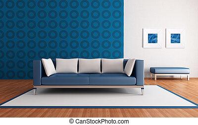 La sala azul moderna