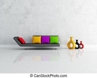 La sala de estar de colores es minúscula