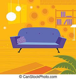 La sala de estar de retro al estilo retro