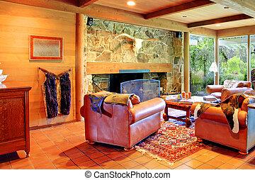 La sala de estar del rancho vaquero