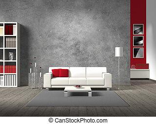 La sala de estar moderna y ficticia con sofá blanco y copiar espacio para su propia imagen/fotos en la pared de hormigón detrás del sofá; las fotos en el fondo son tomadas por mí - ningún derecho es violado