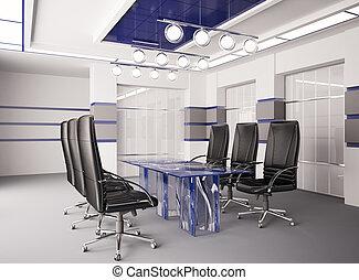 La sala de juntas moderna con la mesa de cristal 3D
