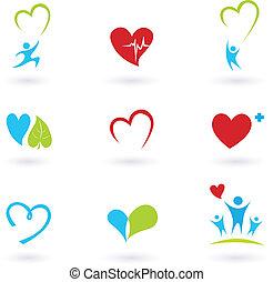 La salud y los iconos médicos en blanco