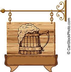 La señal del pub Wooden