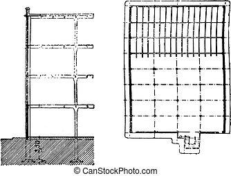 La sección de construcción y la vista del plan de spinning, grabado antiguo.
