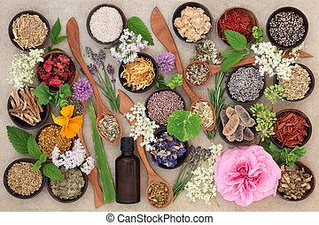 La selección de flores y hierbas