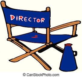 La silla de director de cine de fondo blanco
