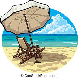 La silla de playa y el paraguas