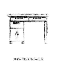 La silueta borrosa del escritorio de madera con cajones
