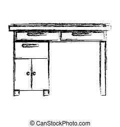 La silueta borrosa del escritorio de madera