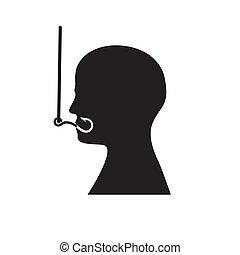 La silueta de la cabeza de un hombre en un anzuelo. Trasfondo aislado. Imágenes de vector. Icon